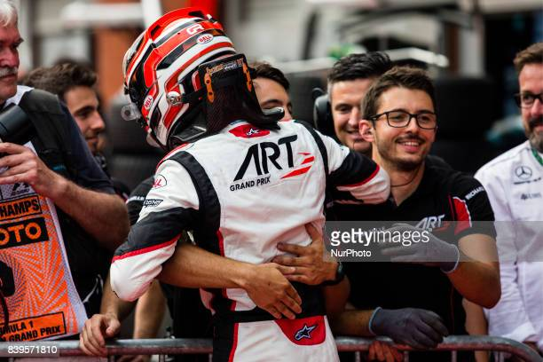 George from Great Britain of Art Grand Prix Mercedes young driver program celebrating his victory during the Race 1 of the FIA GP3 championship at...