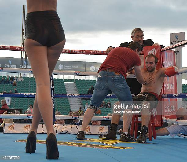 George Gachechiladze of Georgia looks at a ring girl between rounds during his bout with Willy Casey of Ireland on the Frampton Martinez undercard at...