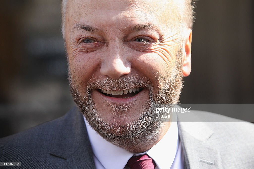 George Galloway appears for a photograph in front of the Houses of Parliament prior to being sworn in as a member of parliament on April 16, 2012 in London, England. Last month Mr Galloway won the Bradford West by-election with a majority of over 10,000 votes from Labour. The shock victory saw a swing towards his Respect party of over 36% from their fifth-place position in the 2010 general election.