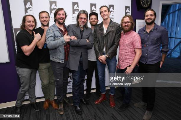 George Gekas Rob Ingraham Ed Williams Andrew Campanelli David Shaw Michael Girardot and Zack Feinberg of The Revivalists with GRAMMY Museum Executive...