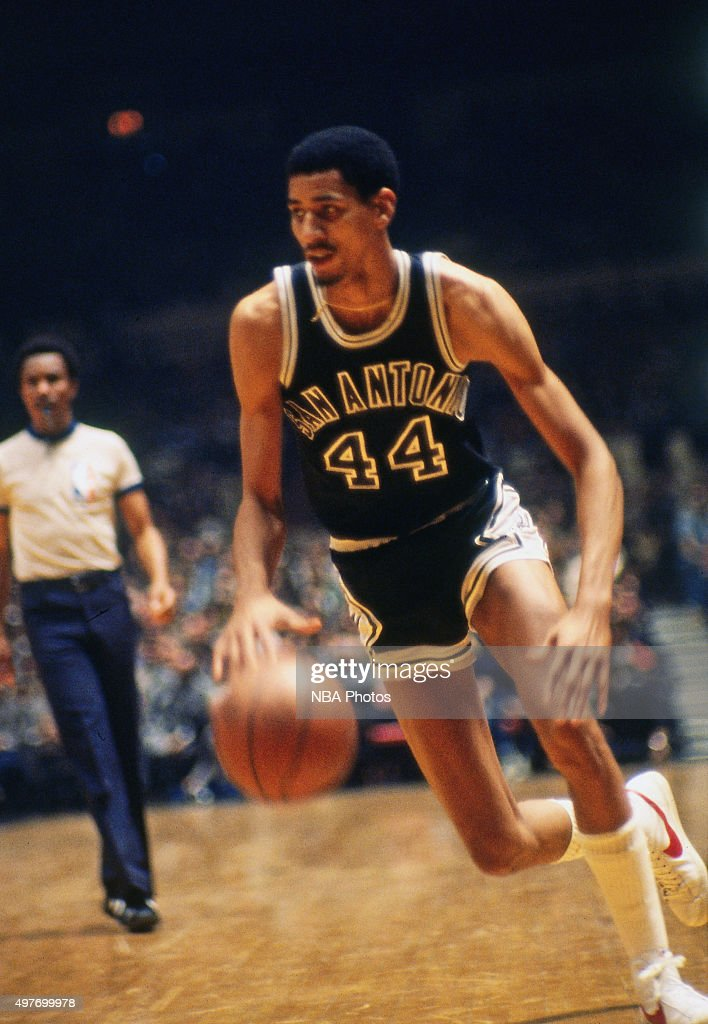 George Gervin of the San Antonio Spurs dribbles against the New York Knicks circa 1978 at Madison Square Garden in New York City NOTE TO USER User...