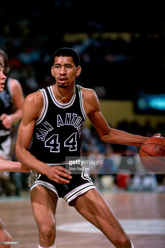 George Gervin of the San Antonio Spurs dribbles the ball against the Boston Celtics circa 1979 at the Boston Garden in Boston Massachussets NOTE TO...