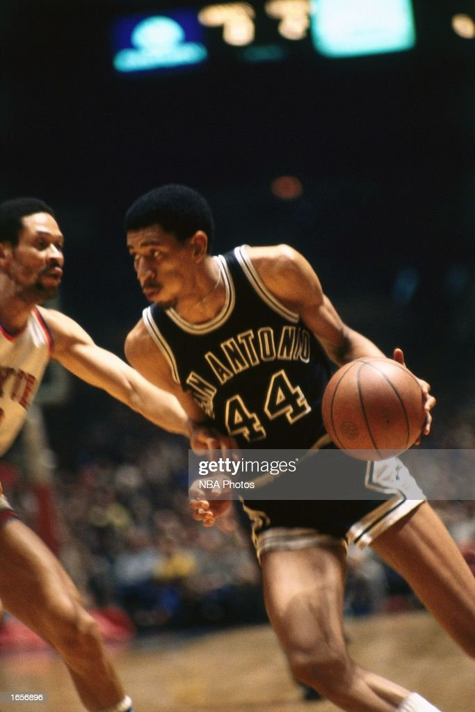 George Gervin of the San Antonio Spurs drives during the 1970 NBA game against the New York Knicks at Madison Square Garden in New York New York NOTE...