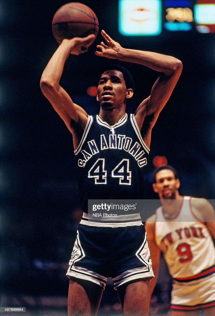 George Gervin of the San Antonio Spurs shoots a foul shot against the New York Knicks circa 1978 at Madison Square Garden in New York City NOTE TO...