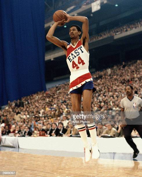 George Gervin of the San Antonio Spurs shoots a jump shot against the West AllStars during the 1980 NBA AllStar Game on February 4 1980 in Landover...