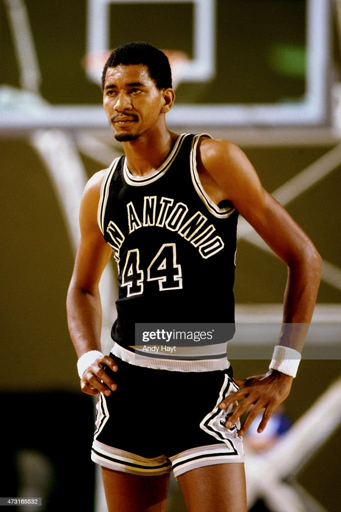 George Gervin of the San Antonio Spurs stands on the court during a game circa 1980 at the HemisFair Arena in San Antonio TX NOTE TO USER User...