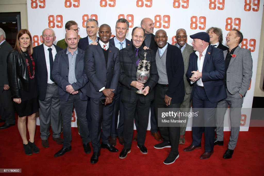 George Graham, Ian Wright, David O'Leary, Tony Adams, Lee Dixon, Ian Wright, Michael Thomas, David Seaman, Steve Bold, David O'Leary and Alan Smith attend at the '89' World Premiere held at Odeon Holloway on November 8, 2017 in London, England.