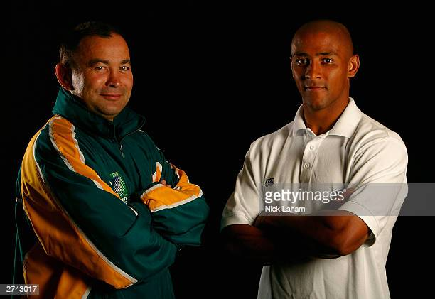 George Gregan and Eddie Jones of the Wallabies pose for a portrait during Wallabies camp in lead up for the 2003 Rugby World Cup final at Wallabies...