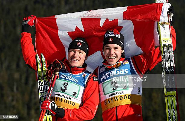 George Grey and Alex Harvey of Canada celebrate their third place finish in the Men's 6 x 16K F Team Sprint during day 4 of the FIS Cross Country...