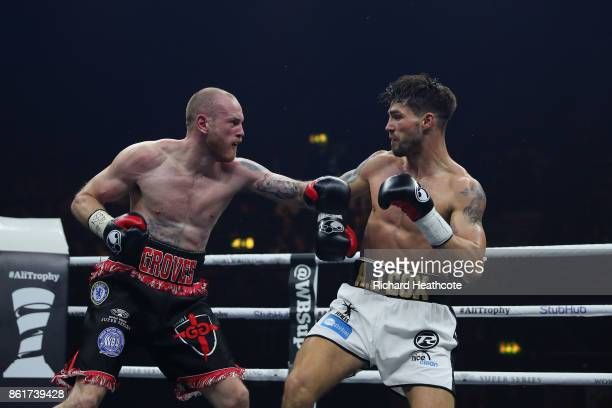 George Groves and Jamie Cox in action durng thier WBSS Super Middleweight QuarterFinal at SSE Arena on October 14 2017 in London England