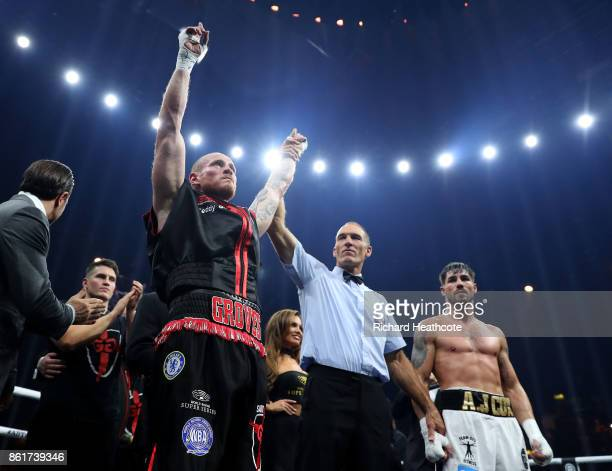 George Groves celebrates knocking out Jamie Cox durng thier WBSS Super Middleweight QuarterFinal at SSE Arena on October 14 2017 in London England