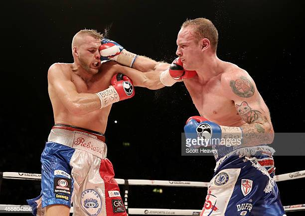 George Groves in action with Christopher Rebrasse during their WBC Final Eliminator European Super Middleweight bout at Wembley Arena on September 20...