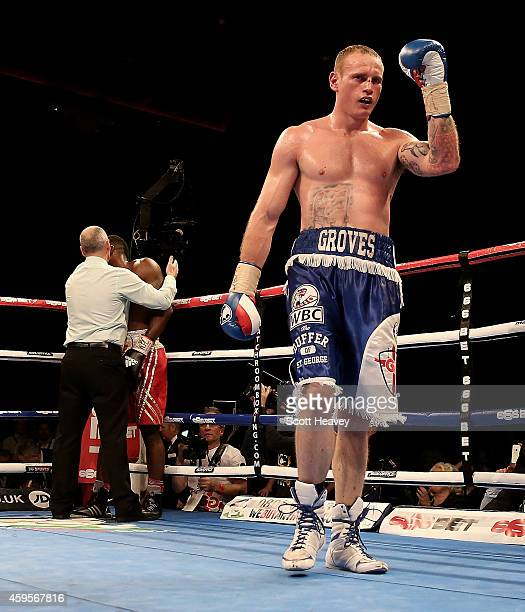 George Groves in action with Denis Douglin during their Super Middleweight bout at Liverpool Echo Arena on November 22 2014 in Liverpool England
