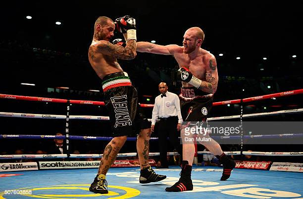 George Groves of England and Andrea Di Luisa of Italy in action during their International SuperMiddleweight Contest at the Copper Box Arena on...