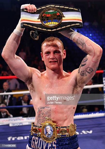 George Groves of England celebrates defeating James DeGale of England in the British and Commonwealth SuperMiddleweight Championship during World...
