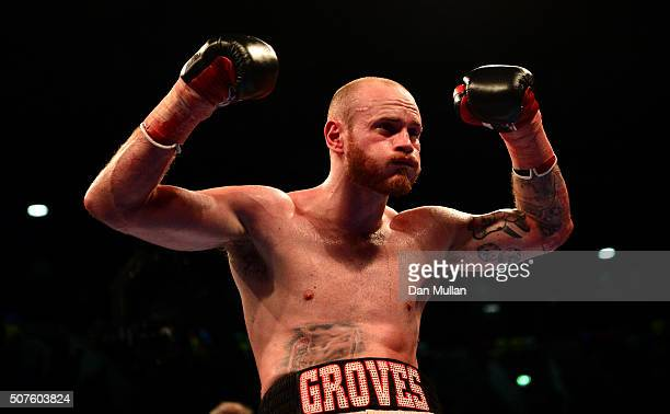 George Groves of England celebrates victory over Andrea Di Luisa of Italy during their International SuperMiddleweight Contest at the Copper Box...