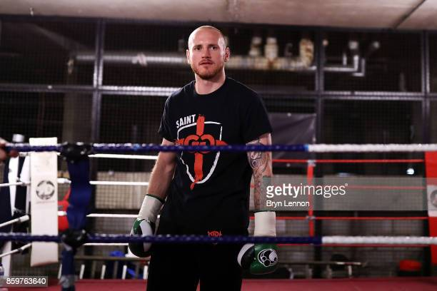 George Groves of Great Britain looks on during a media workout at the Dale Youth ABC on October 10 2017 in London England