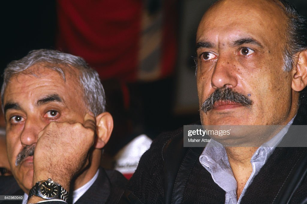 <a gi-track='captionPersonalityLinkClicked' href=/galleries/search?phrase=George+Habash&family=editorial&specificpeople=1106400 ng-click='$event.stopPropagation()'>George Habash</a>, Palestine Liberation Democratic Front and Assem Kanzo, Secretary General of the Syrian Baath Party during the Fifth Lebanese Communist Party Conference.