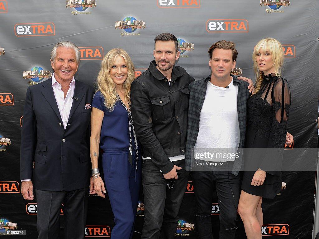 """George Hamilton, Ashley Hamilton, Sean Stewart, Kim Stewart and Alana Stewart On """"Extra"""""""