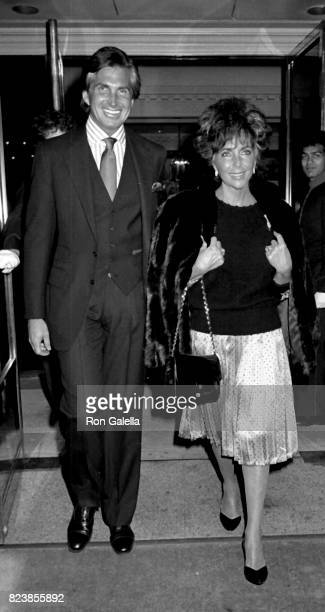 George Hamilton and Elizabeth Taylor sighted on April 7 1987 at Plaza Athenee in New York City