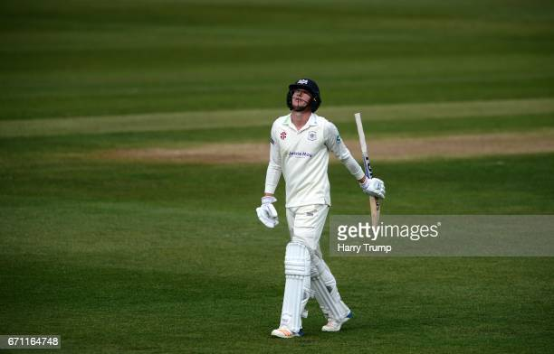 George Hankins of Gloucestershire walks off after being dismissed during Day One of the Specsavers County Championship Division Two match between...