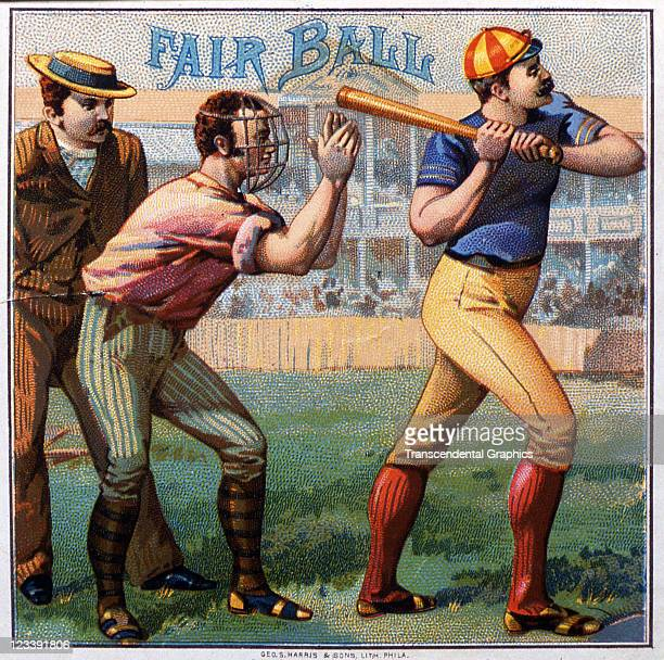 George Harris Sons lithographers draw two baseball players with an umpire viewing an incoming pitch to decorate the cigar label entitled Fair Ball...