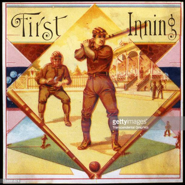 George Harris Sons lithographers draw two baseball players within a game scene to decorate the cigar label entitled First Inning printed 1880s in...