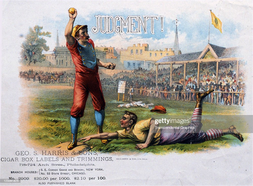 George Harris & Sons lithographers use an action baseball scene to decorate the cigar label entitled Judgment, printed 1880s in Philadelphia, Pennsylvania.