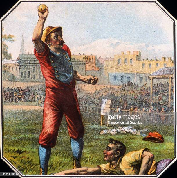 George Harris Sons lithographers use an action baseball scene to decorate the cigar label entitled Judgment printed 1880s in Philadelphia Pennsylvania