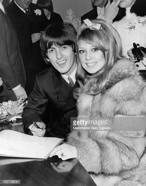 George Harrison and Patti Boyd 1966 Beatle George Harrison and bride Patti Boyd sing the register 1966