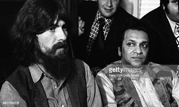 George Harrison and Ravi Shankar at press conference about their benefit show for the East Pakistan refugee children at Madison Square Garden