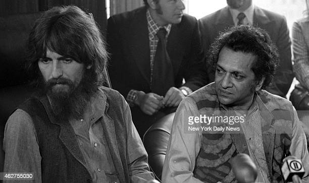 George Harrison and Ravi Shankar at press conference for their benefit show for the East Pakistan refugee children at Madison Square Garden