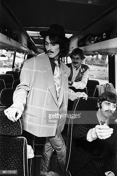 George Harrison and Ringo Starr of the Beatles travel by coach to the West Country for some location work on 'The Magical Mystery Tour' film 12th...