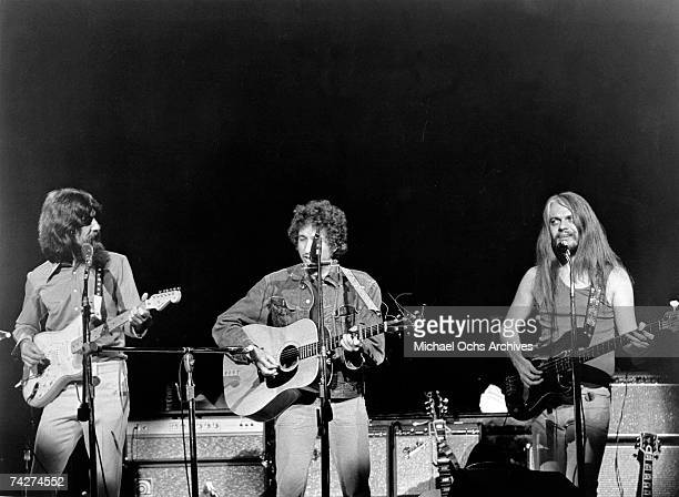George Harrison Bob Dylan and Leon Russell perform onstage at the Concert for Bangladesh which was held at Madison Square Garden on August 1 1971 in...