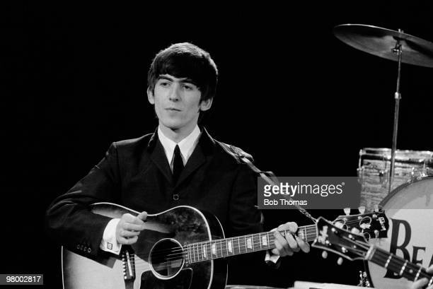George Harrison during the Beatles appearance on the Granada Television Programme Late Scene Extra recorded in Manchester 25th November 1963