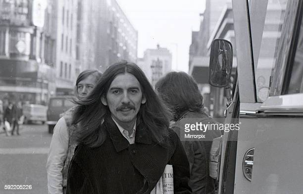 George Harrison in Birmingham City Centre before performing at the Town Hall December 1969