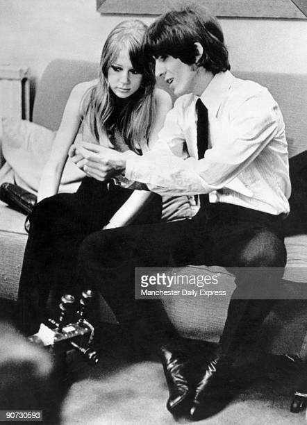 George Harrison is pictured here with his first wife Patti Boyd Harrison met Boyd on the set of A Hard Days Night in 1964 and married her in early...