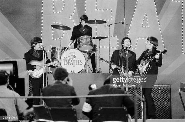 George Harrison takes the lead for his composition 'If I Needed Someone' during the Beatles' first show at Tokyo's Budokan Hall 30th June 1966