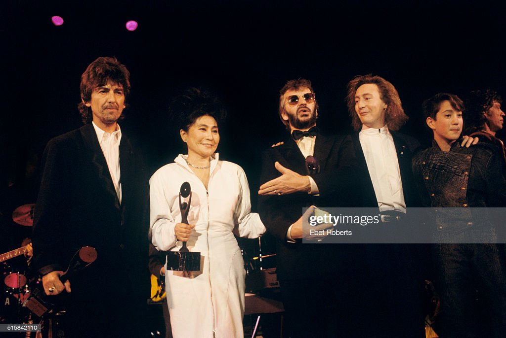 George Harrison, Yoko Ono, Ringo Starr, Julian Lennon, and Sean Lennon at the Rock n' Roll Hall of Fame III ceremony at the Waldorf Astoria in New York City on January 20, 1988.