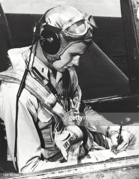 George Herbert Walker Bush is pictured in the cockpit of his TBM Avenger during the World War II Born 12 June 1924 in Milton Massachussetts George...