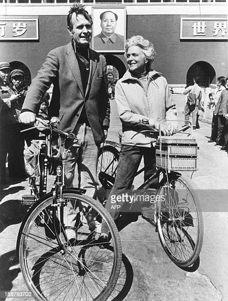George Herbert Walker Bush poses with his wife Barbara in Beijing in 1974 Born 12 June 1924 in Milton Massachussetts George Bush Yale graduated with...
