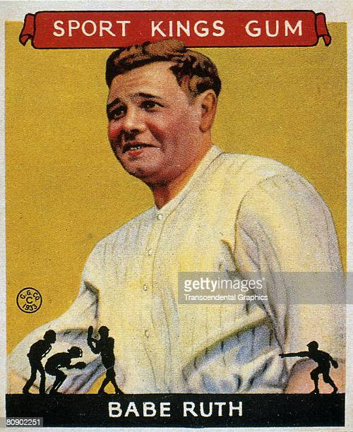 George Herman 'Babe' Ruth Swings 1935 Color lithograph portrait of George Herman 'Babe' Ruth The image is from a trading card published by the Goudey...