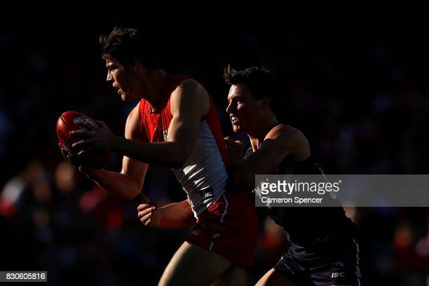 George Hewett of the Swans marks during the round 21 AFL match between the Sydney Swans and the Fremantle Dockers at Sydney Cricket Ground on August...