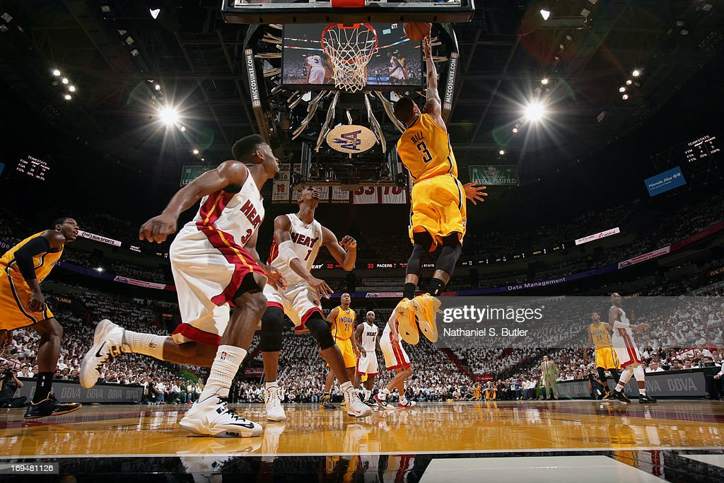 George Hill #3 of the Indiana Pacers attempts the reverse layup against the Miami Heat in Game One of the Eastern Conference Finals on May 22, 2013 at American Airlines Arena in Miami, Florida.