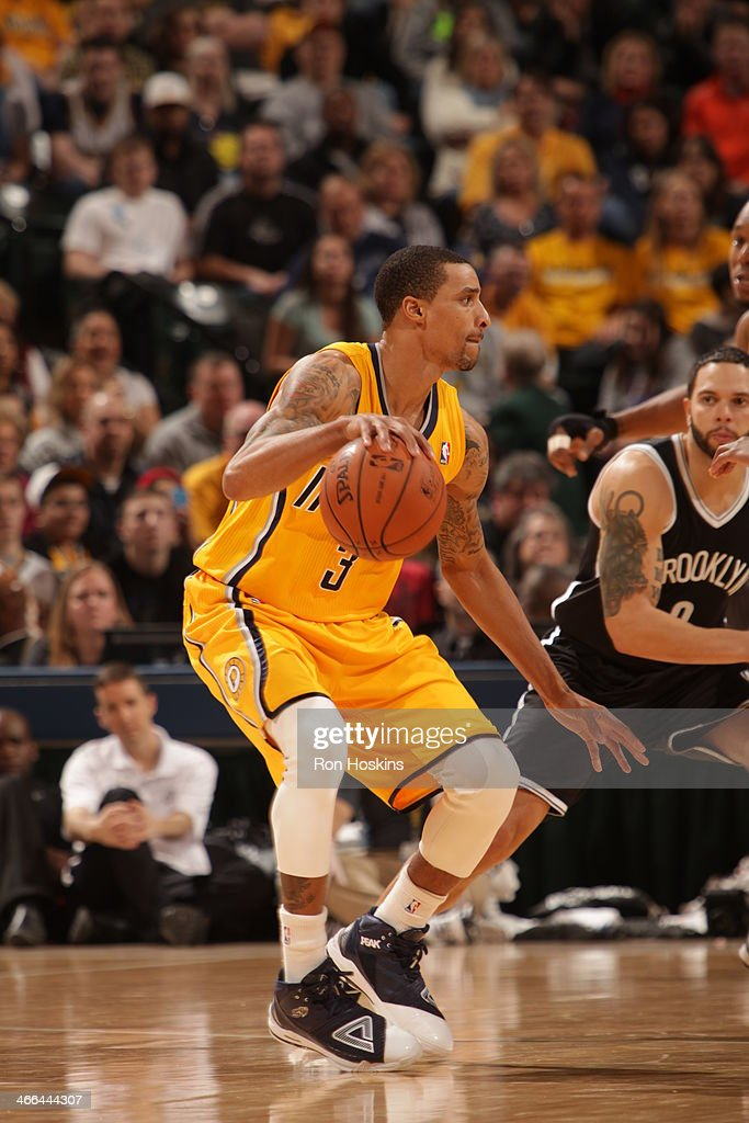 George Hill #3 of the Indiana Pacers controls the ball against the Brooklyn Nets at Bankers Life Fieldhouse on February 1, 2014 in Indianapolis, Indiana.