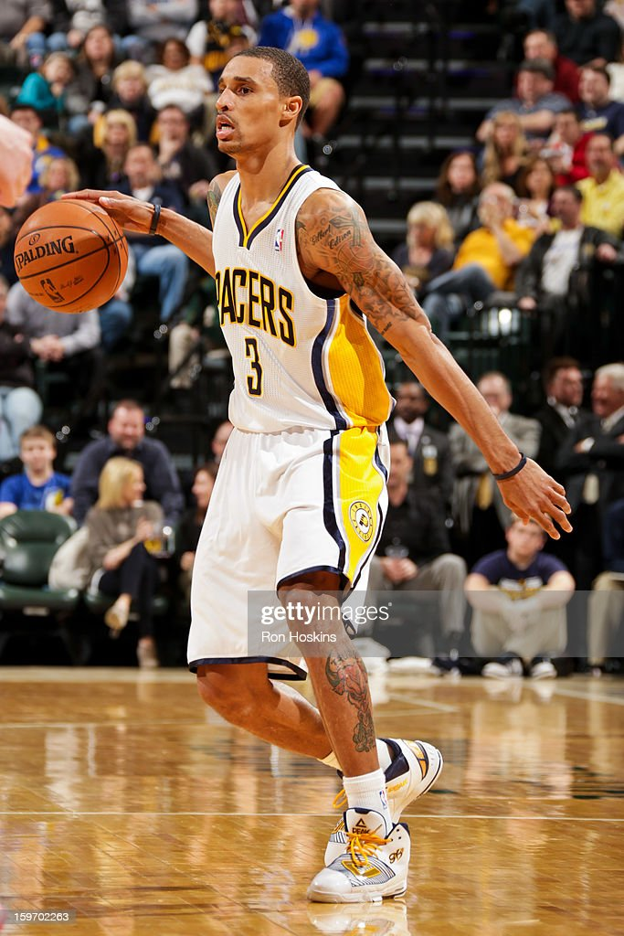George Hill #3 of the Indiana Pacers controls the ball against the Houston Rockets on January 18, 2013 at Bankers Life Fieldhouse in Indianapolis, Indiana.
