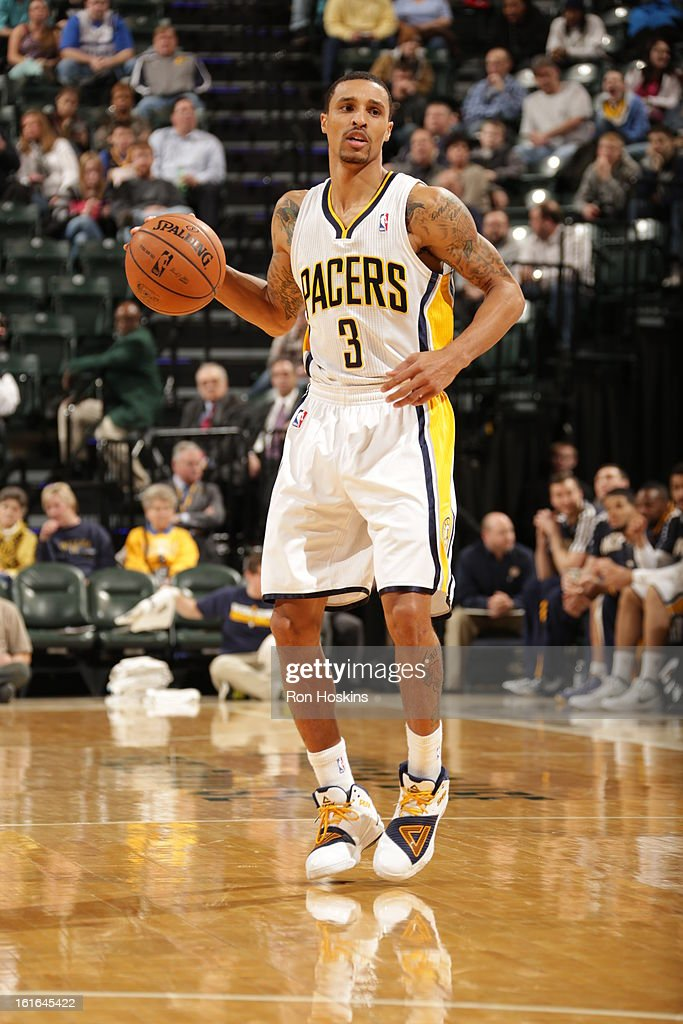 George Hill #3 of the Indiana Pacers controls the ball against the Charlotte Bobcats on February 13, 2013 at Bankers Life Fieldhouse in Indianapolis, Indiana.