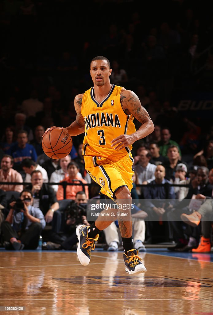 George Hill #3 of the Indiana Pacers dribbles in a game against the New York Knicks during Game Two of the Eastern Conference Semifinals during the 2013 NBA Playoffs on May 7, 2013 at Madison Square Garden in New York City.