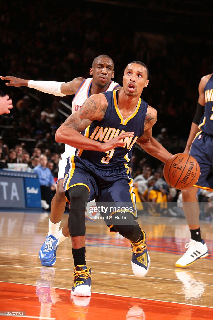 George Hill #3 of the Indiana Pacers drives against the New York Knicks on March 7, 2015 at Madison Square Garden in New York City.