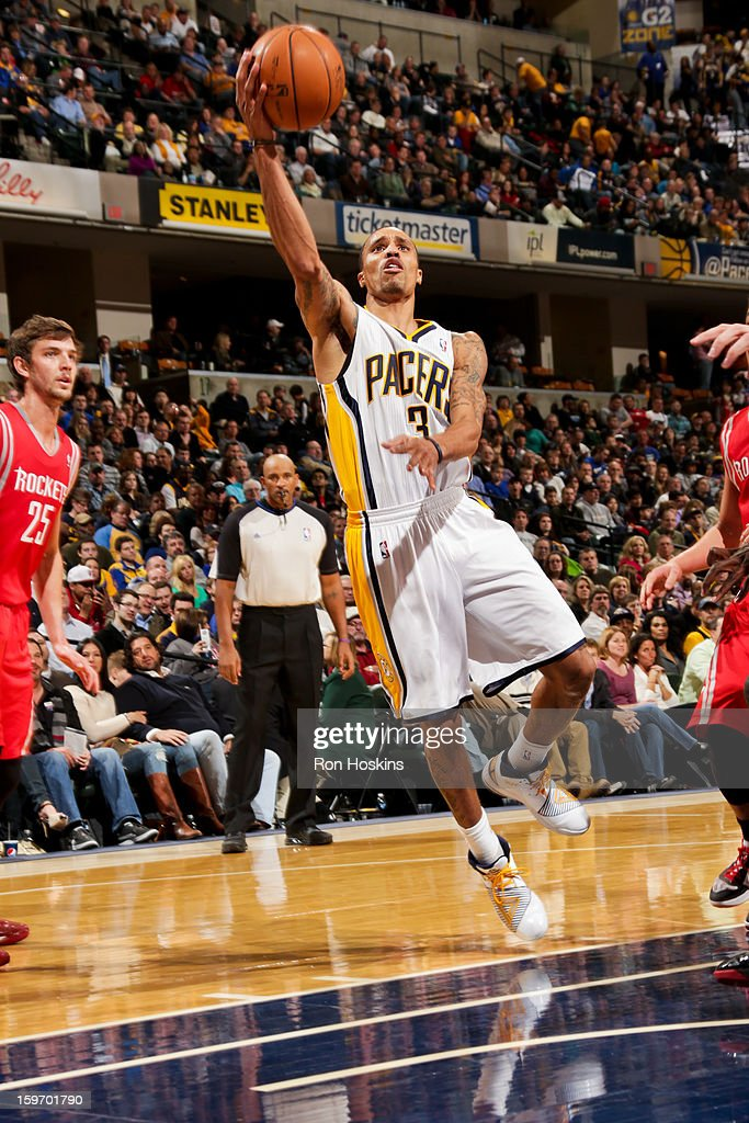 George Hill #3 of the Indiana Pacers drives to the basket against the Houston Rockets on January 18, 2013 at Bankers Life Fieldhouse in Indianapolis, Indiana.